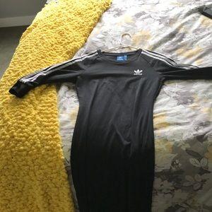Adidas black dress w/ b&w striped sleeves
